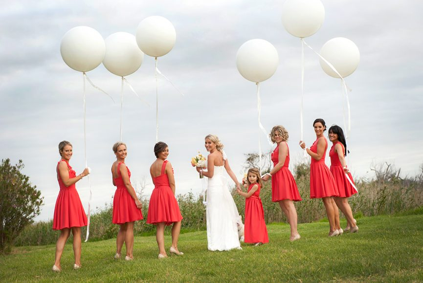 beautiful, white balloons, pretty, cherry pink, sky, outback, South Australia, country, rural, trees, shrubs, dress, flower girl, bridesmaids, bride, bouquet, colorful, yellow, white, pink, flowers, photographer, roses, grass, happy, love, photography,
