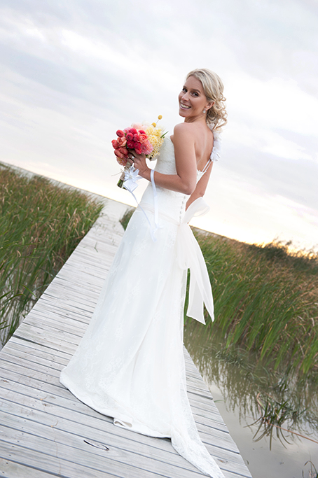 beautiful, bride, happy, sunset, rural, country, South Australia, shrubs, lake, lakefront, dress, wedding, photography, hair, up-do, photographer, country, rural, bouquet, colorful, outback, pink, yellow, apricot, flowers, roses