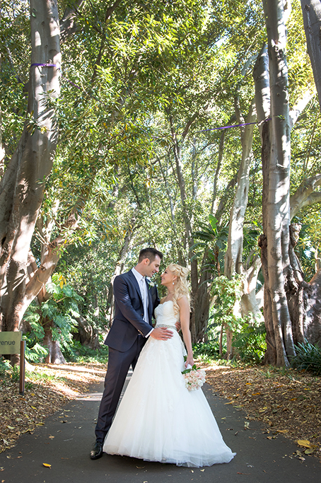 happy, love, wedding, Adelaide, South Australia, dress, silver, white gold, flowers, roses, bouquet, pastel, blue suit, Botanic Gardens, city, Italian, photography, Gainsborough Studio, photographer
