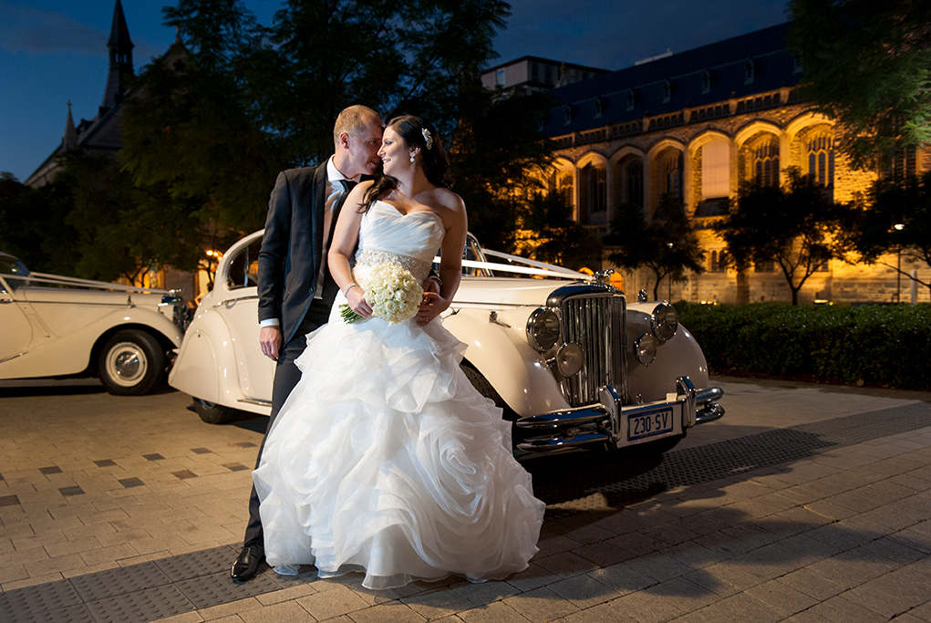 Wedding Photographer love happy couple white roses flowers bouquet strapless dress silver sequins accessories black suit old style cars night photography Adelaide South Australia nature trees beautiful