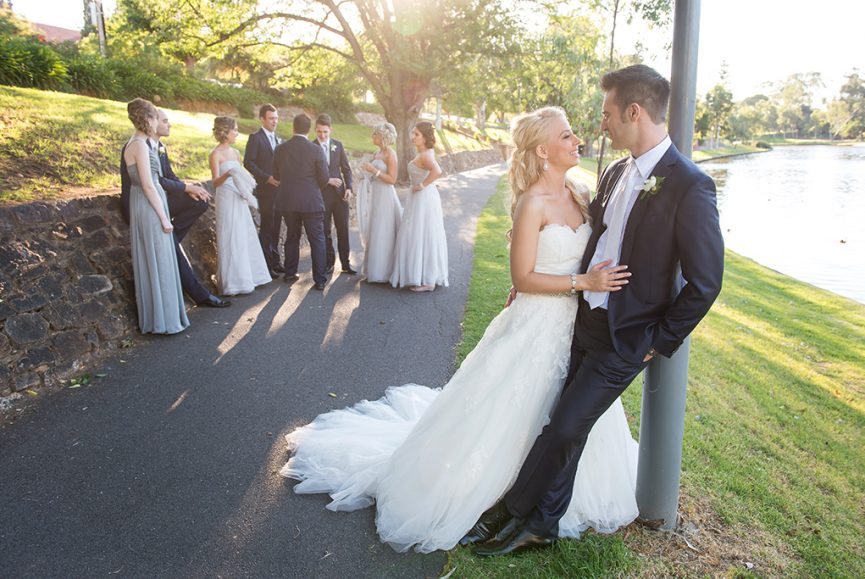 Adelaide, city, South Australia, photographer, happy, newlyweds, couple, joy, bridesmaids, groomsmen, bridal party, Gainsborough Studio, blue suit, white ties, dress, silver, accessories, white gold, photography, Torrens River, evening, sunset