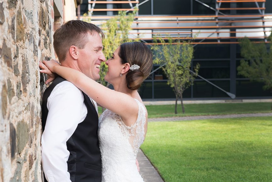 Wine Centre Botanic Gardens Adelaide South Australia happy excited groom bride lace dress hair up-do suit photographer love wedding day photography