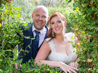 greenery, wine centre, beautiful, nature, groom, happy, love, wedding, bride, lace, dress, earrings, blue, suit, vest, shirt, jacket, pretty, smile, ring, silver, white gold, botanic gardens