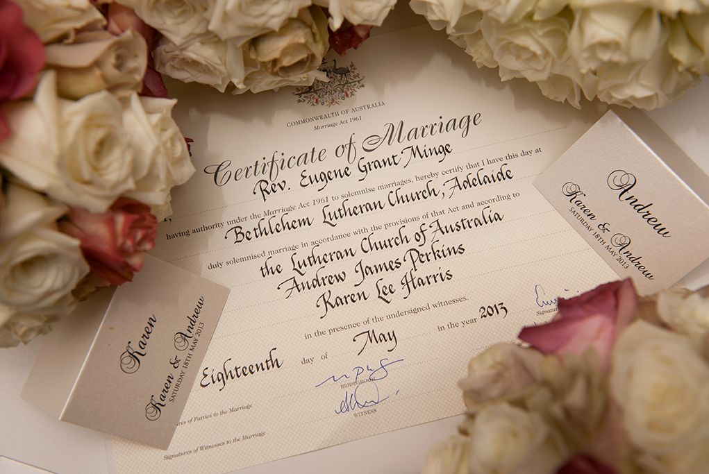 wedding certificate pretty love happy newlyweds white pastel pink roses bouquet photography Adelaide South Australia photographer Bethlehem Lutheran Church