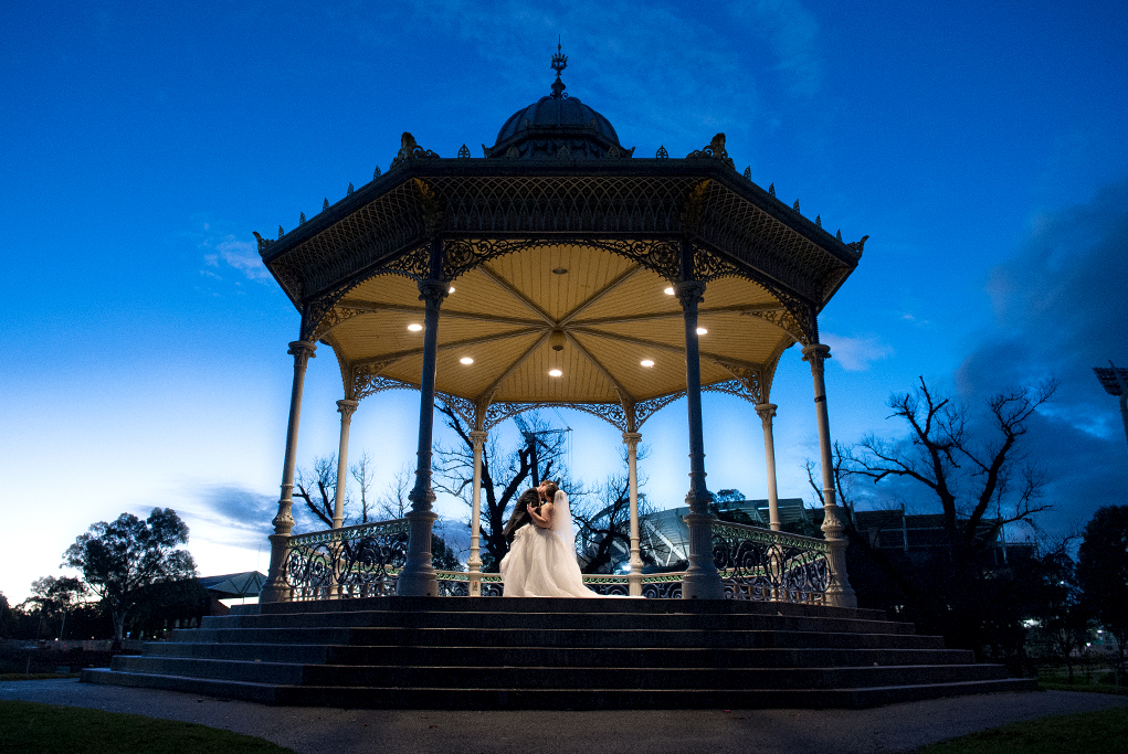 night, evening, photography, blue, sky, silhouettes, pretty, River Torrens, city, Adelaide, romantic, stairs, grass, clouds, lights, Australia, trees, bride, suit, groom, kiss, dress, veil, rotunda, wedding, stadium