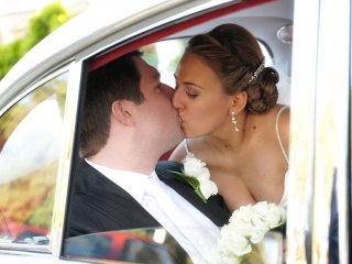 car, limousine, kiss, silver, beautiful, wedding, love, happy, trees, garden, Adelaide, rose, pinstripe, suit, white, tie, photographer, shirt, roses, bouquet, embellished, earrings, hair clip, veil, up-do, Australia, photography, beads