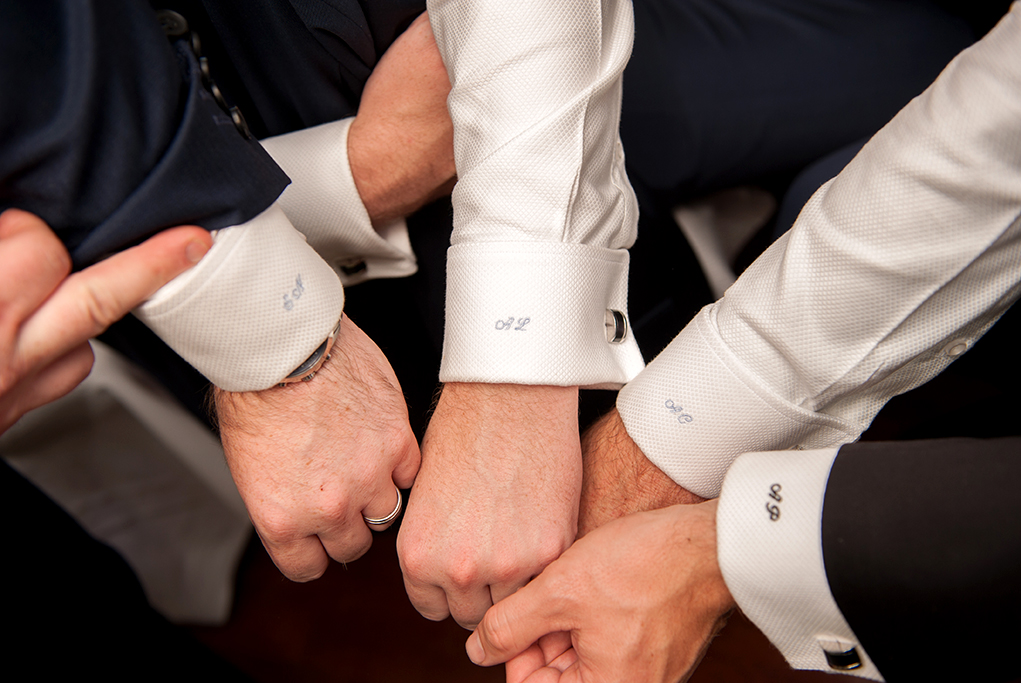 Groom groomsmen embroidery shirt cuff links navy black suits wedding details photography getting ready Adelaide photographer South Australia