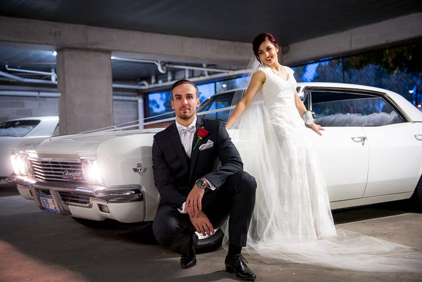 happy, Chevrolet, car, classic, white, wedding, Adelaide, ribbon, groom, red, rose, bowtie, shirt, grey suit, Australia, red hair, pearls, dress, photography, veil, beautiful, Sferas Park Convention Centre, love, lips, lights, watch, shoes, photographer