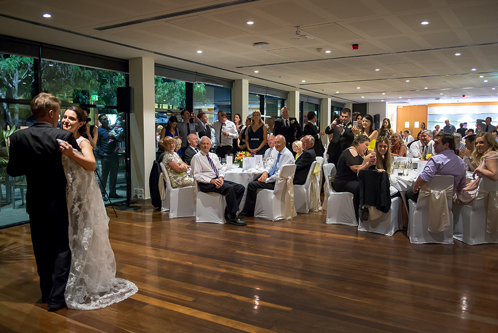 reception wine centre first dance bride photographer groom guests lace dress suit happy newlyweds Adelaide South Australia photography