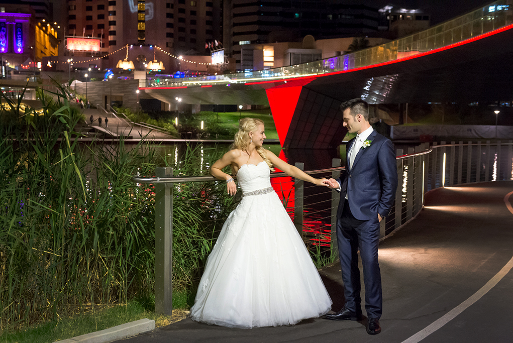 wedding, Adelaide, city, South Australia, photography, photographer, Gainsborough Studio, Italian,  newlyweds, dress, silver accessories, blue suit, white gold, neon lights, fairy lights, colourful