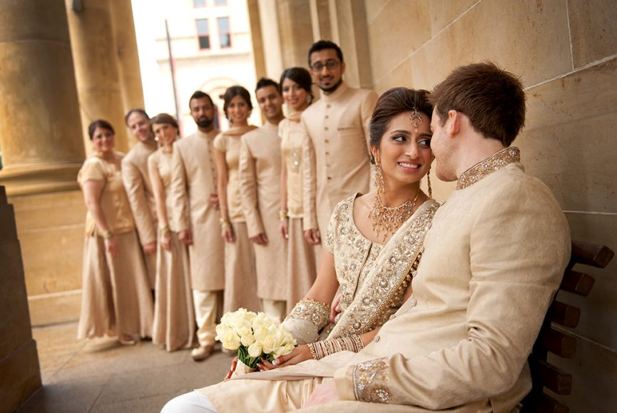 bridal party, groomsmen, bridesmaids, groom, bride, happy, love, couple, wedding day, Indian, traditional, Adelaide, city, South Australia, sari, embellishments, sequins, gold, white, roses, bouquet, necklace, earrings, bangles, headpiece
