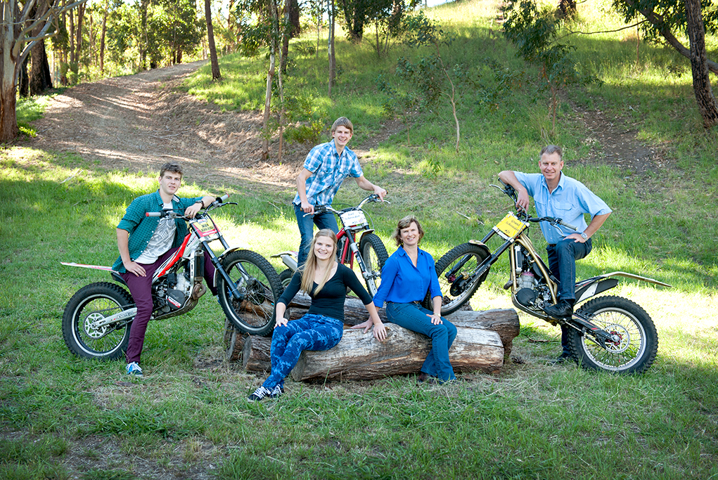 Adelaide, country, nature, outdoors, family portrait, love, happy, parents, kids, location photographer, photography, relaxed, casual, denim jeans, motorbikes, dirt bikes, shirt, black, green, blue, trees