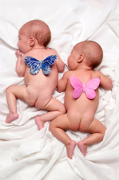 Clour studio shot of twin baby boy and girl with matching pink and blue butterfly wings on their backs
