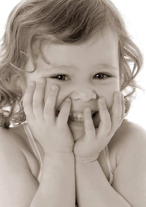 kids, children, giggles, smile, happy, girl, studio, Adelaide, South Australia, photography, photographer, sepia colour