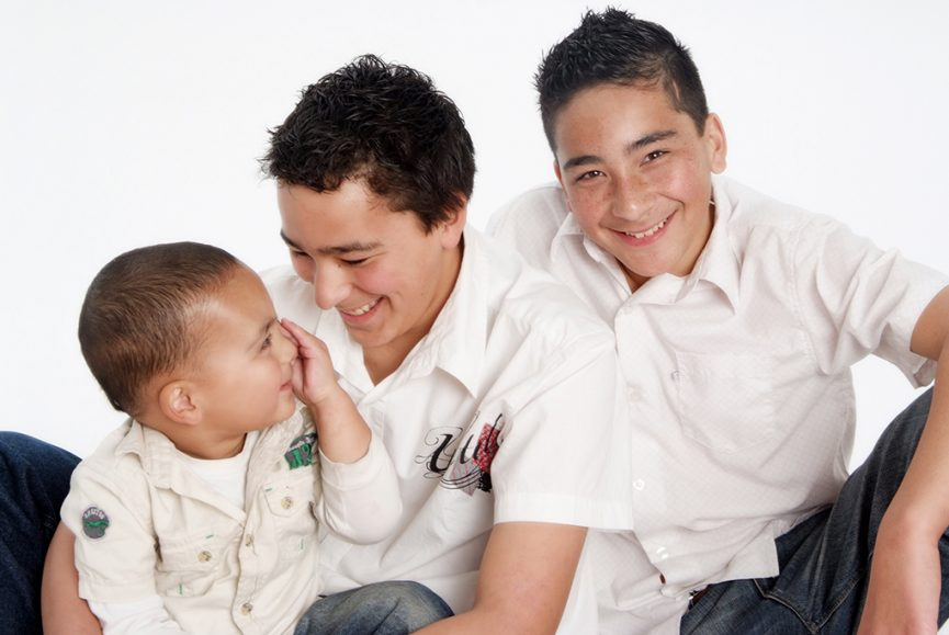 kids, brothers, studio, siblings, photography, Adelaide, photographer, white t-shirt, shirts, denim jeans, background, happy, South Australia