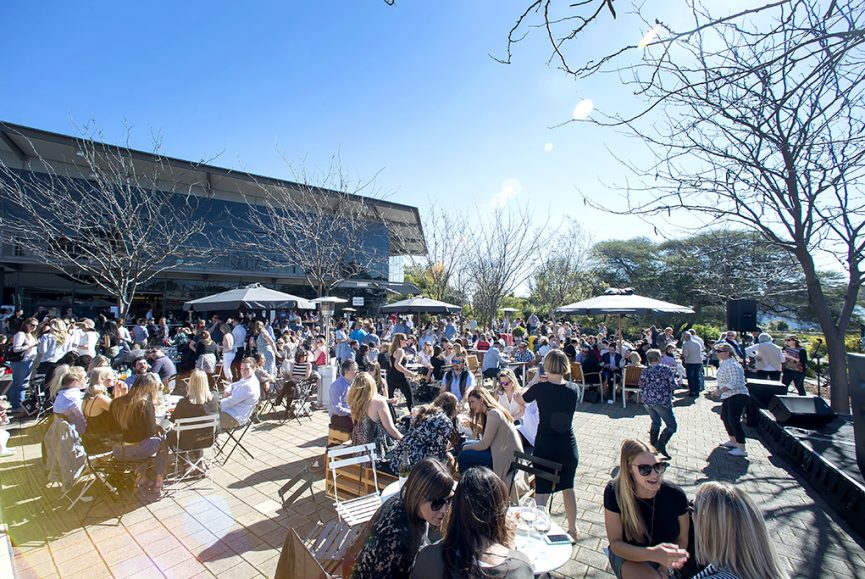 National Wine Centre Adelaide, Winter Wine Festival Day, Main courtyard shot of the wine centre filled with people