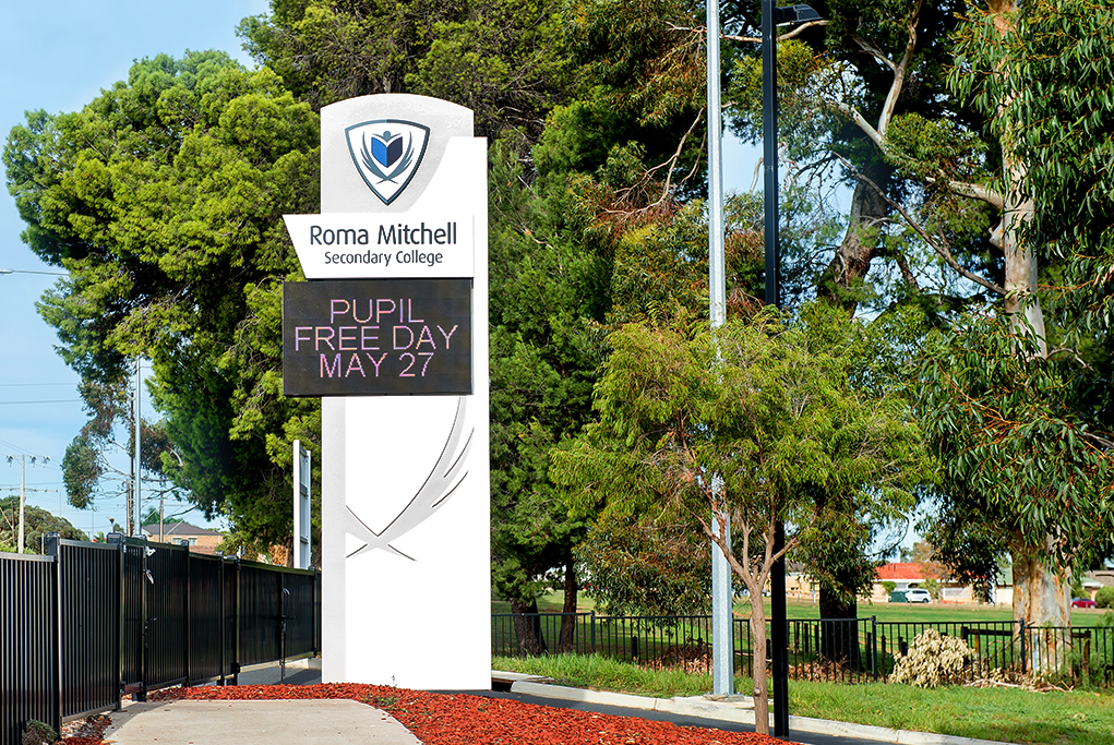 Corporate Sign, Street side signage photography, Roma Mitchell Secondary School, LED Illuminated Sign Photography