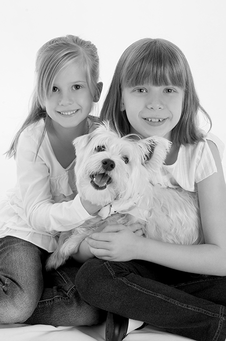 white terrier dog, black and white photography, Adelaide, South Australia, happy, pet, kids, girls, denim jeans, white tops, studio