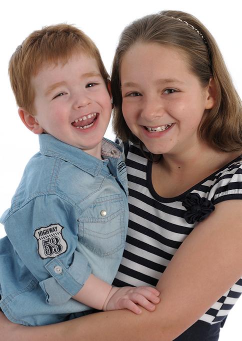 denim, black and white stripe top, headband, happy, Adelaide, South Australia, studio, white background, brother sister, kids, children, smiles