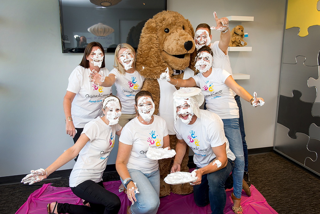 Team Photography, Charity photography, Childhood Cancer Association Adelaide South Australia, Elliot the dog mascott, Pie Face Challenge, fun corporate photography