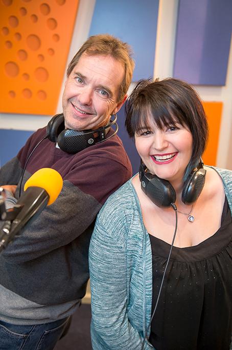 South Australia, happy, radio hosts, presenters, Adelaide, fun, headphones, microphone, corporate location photography, Life FM Breakfast radio presenter, photographer, orange, blue, purple