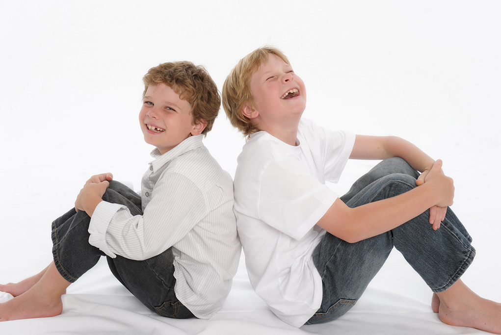 brothers, studio, white background, shirt, denim jeans, laughter, Adelaide, kids, children, South Australia, happy