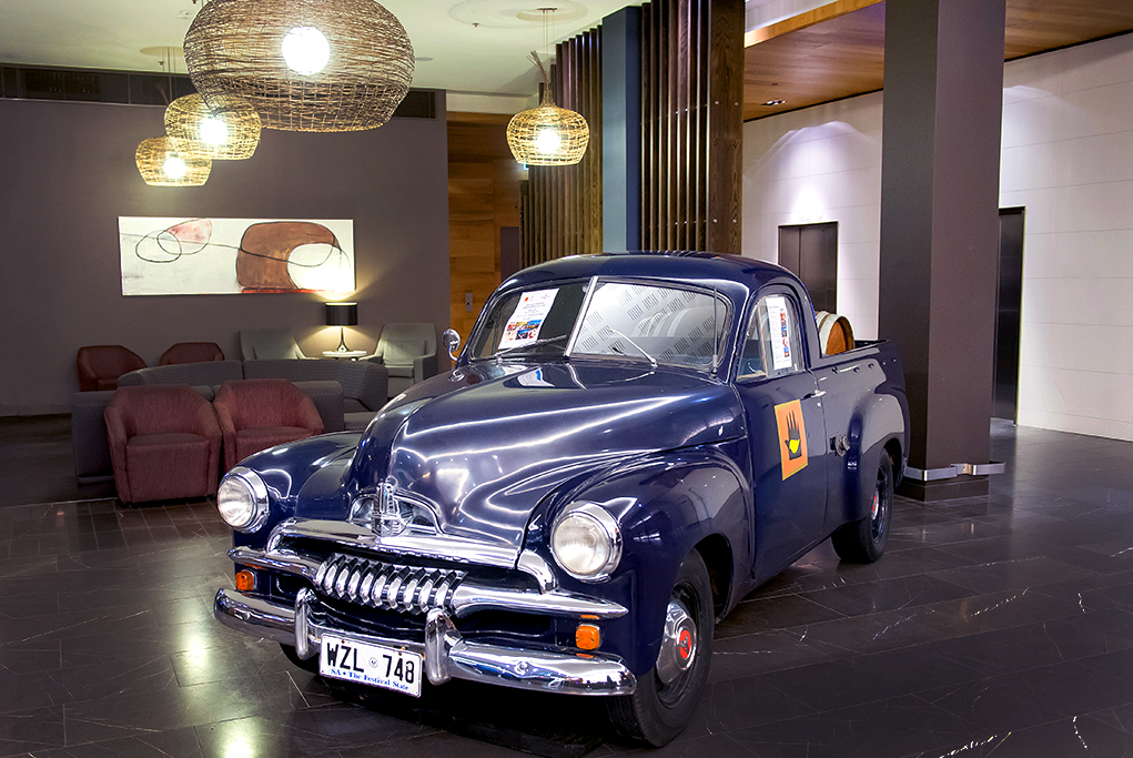 Photograph of restored vintage ute in the foyer of the Crowne Plaze hotel Adelaide South Australia, Corporate event photography, car photography