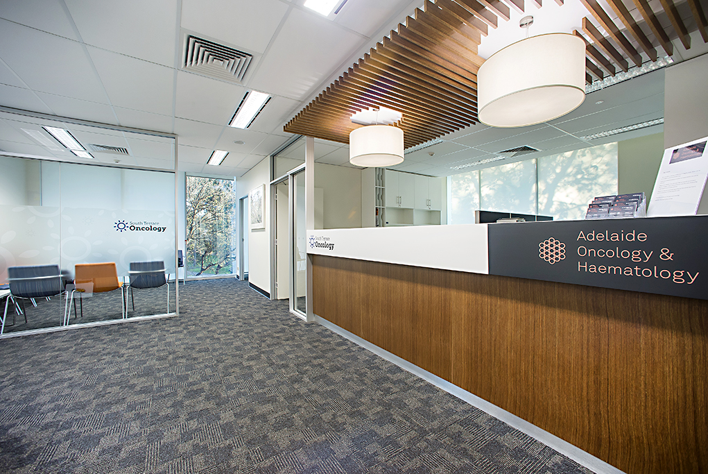Corporate Foyer Reception image, St Andrews Hospital, Adelaide Oncology & Haematology, Coprorate visual  identiy image