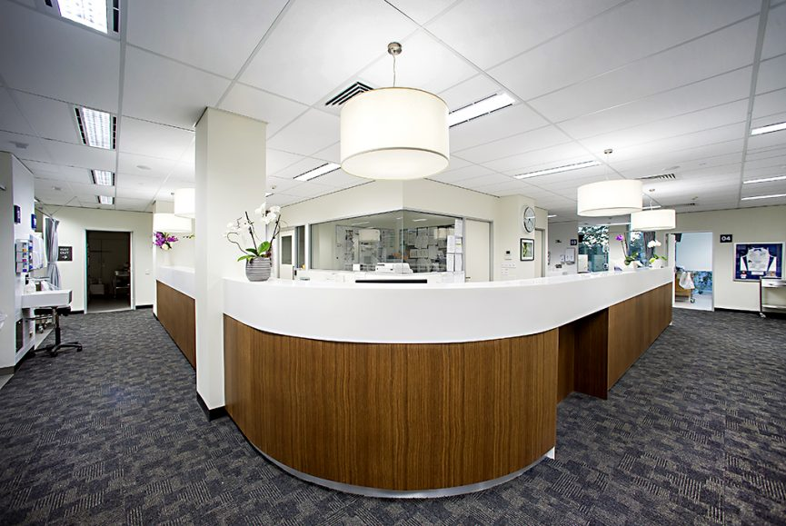 Corporate reception desk shot, corporate image photography, visual marketing image, St Andrews Hospital building