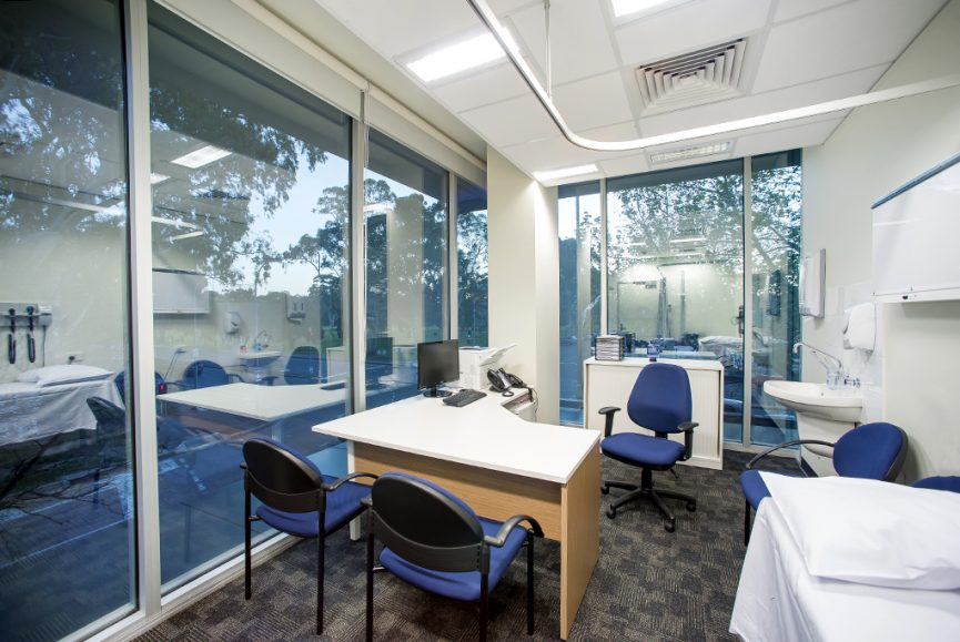 Corporate office image, medical suite, photograph of a medical consulting suite over looking the Adelaide parklands