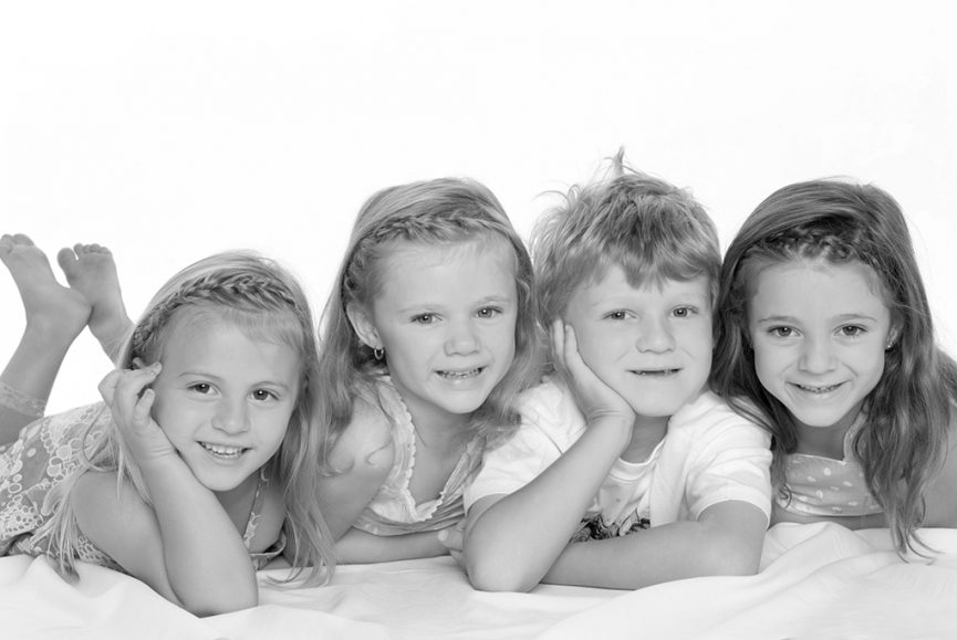 kids, brother sisters, siblings, family, girls, boy, black and white, photography, studio, white background, photographer, Adelaide, dress, t-shirt, South Australia