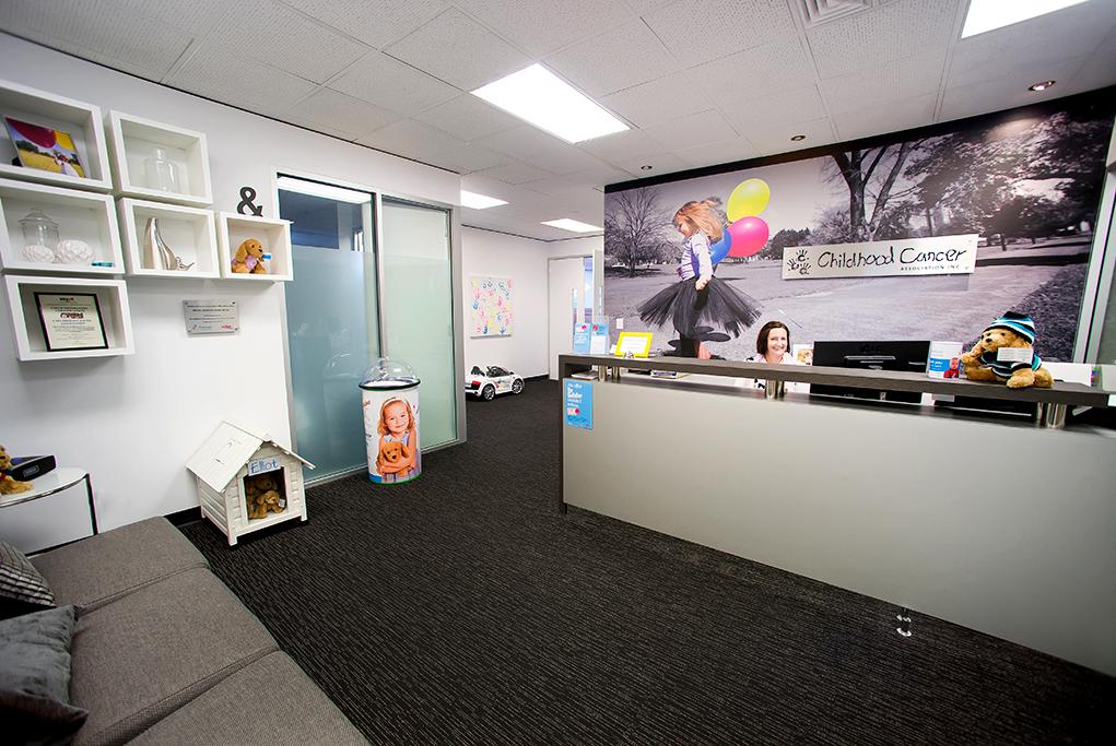 Corporate foyer shot, reception image, reception desk , Childhood Cancer Association foyer