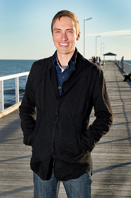 Corporate business location portrait, Grange Beach jetty, relaxed fun business profile colour image