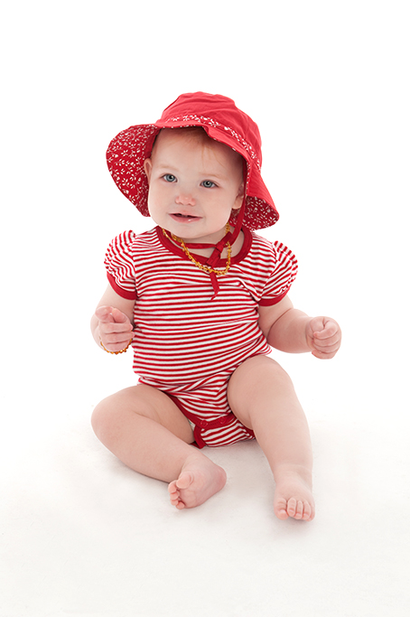 baby, stripes, clothing, girl, hat, necklace, studio, white background, happy, product, corporate, photographer, Adelaide, photography, South Australia, red