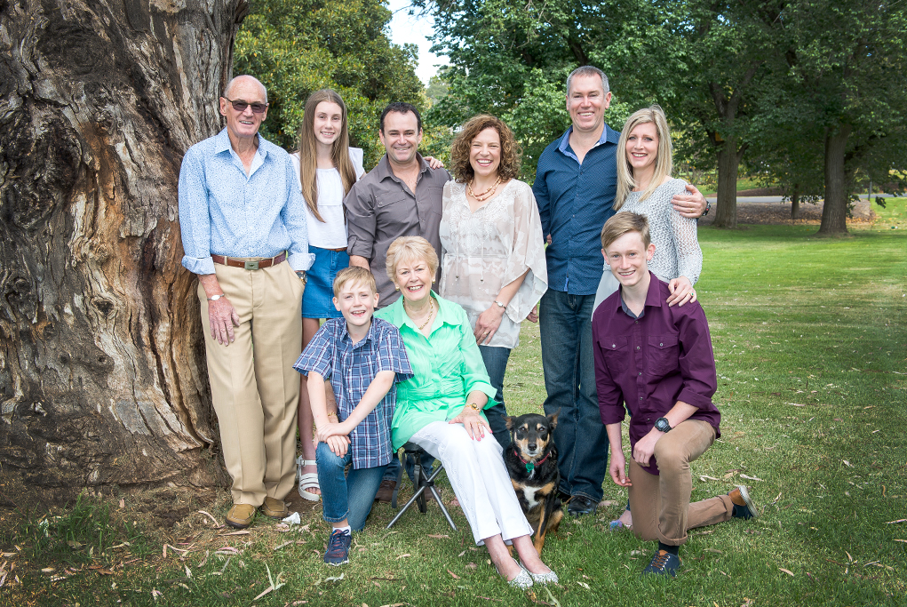 Adelaide, South Australia, family portrait, park, nature, happy, kids, parents, grandparents, tree, photography, location photographer, dog, pet, casual, relaxed