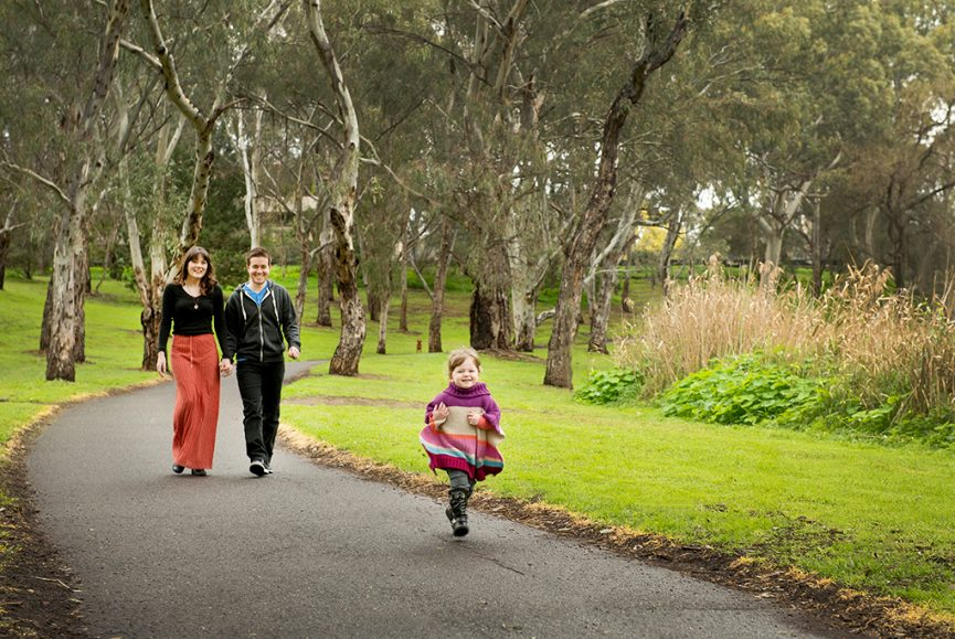 happy, family, location photographer, Adelaide, South Australia, parents, kid, children, cute, girl, winter, jumper, knit, relaxed, casual, park, nature, photography