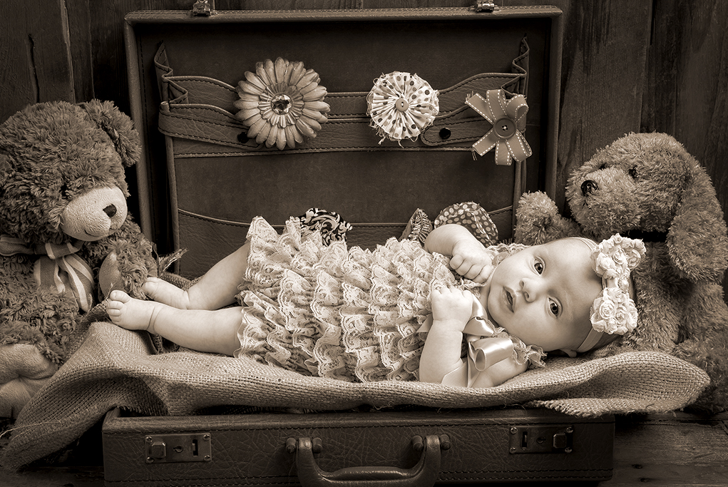 vintage studio sepia shot of baby girl in old case with teddy bears against a timber background