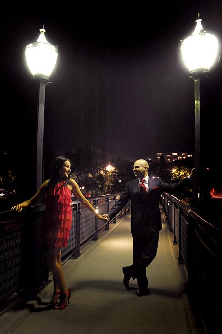 red dress, tie, night photography, couple, happy, love, bridge, Adelaide university, South Australia, city, suit, blazer, slacks, red shoes, location photographer