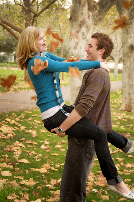 fun, happiness, Autumn, winter, location photography, photographer, Adelaide, South Australia, leaves, happy, couple, jumper, denim jeans, scarf, love
