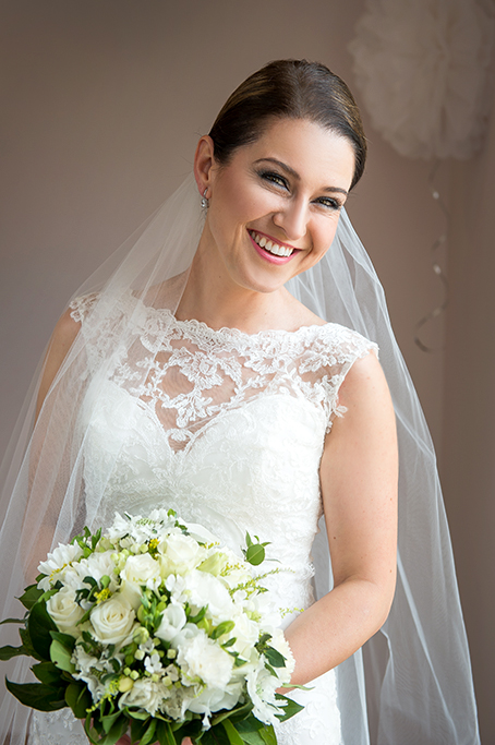 Adelaide lace dress wedding flowers South Australia bouquet happy bride smiles laughter veil photography