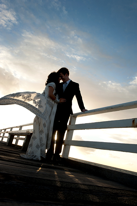 love, sunset, sky, beautiful, jetty, Adelaide, sari, traditional, Indian, wedding, groom, bride, photography, photographer, embellished, dress, suit
