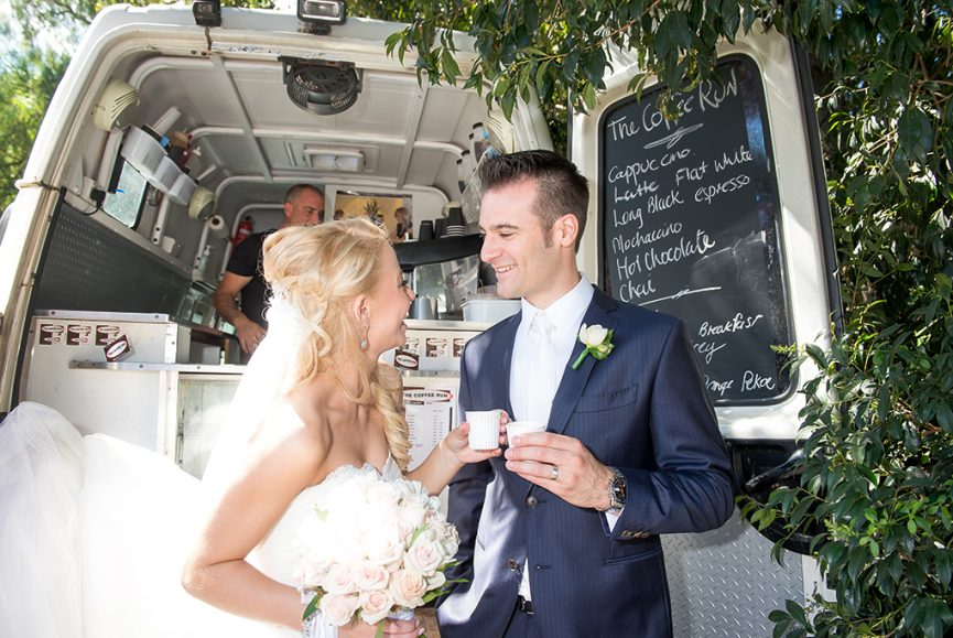 Adelaide Fringe, wedding, coffee, van, cappuccino, latte, flat white, mochaccino, hot chocolate, chai, cheers, happy, bride, groom, Italian, just married, dress, blue pinstripe suit, flowers, pastel, roses, bouquet, photography, van, South Australia, photographer