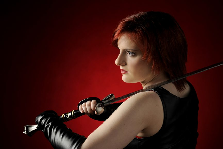 red background, hair, black, leather gloves, top, glamour, Allure, studio, Adelaide, photography, sword, photographer, South Australia